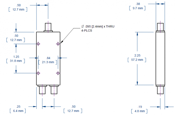 2 way SMA Power Divider from 2 GHz to 18 GHz