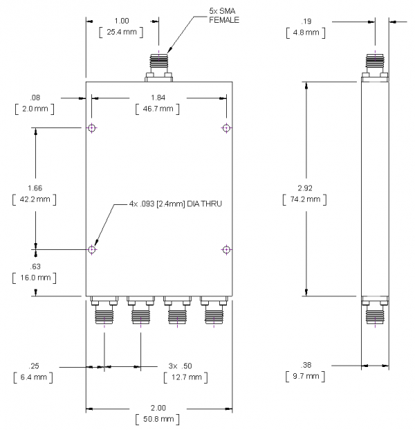 SMA 4-way Power Divider from 500 MHz to 2 GHz