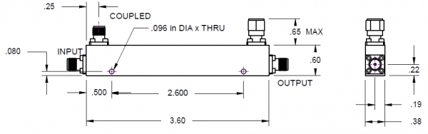 Directional Coupler 6 dB SMA Female from 500 MHz to 2 GHz