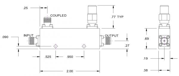 SMA Directional Coupler 6 dB from 2 GHz to 8 GHz