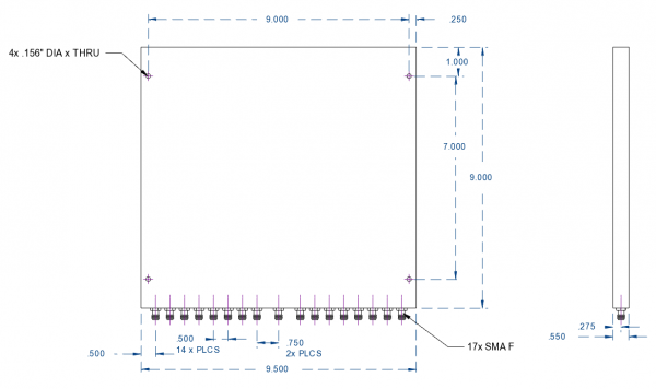 Power Divider 16-way SMA Female from 500 MHz to 6 GHz Single-Sided Connectors