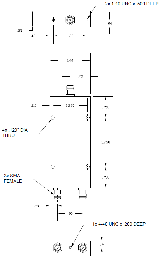 Wideband Power Divider 2-way SMA Female from 500 MHz to 6 GHz