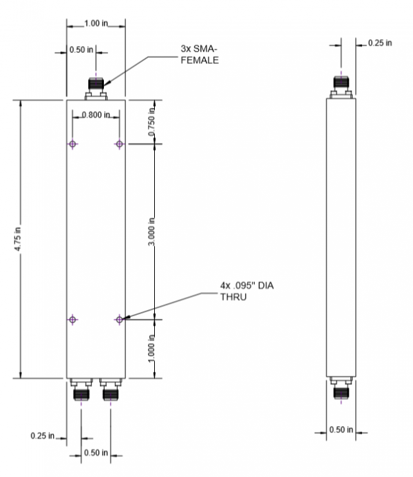 2-way SMA Power Divider from 500 MHz to 18 GHz
